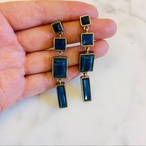 Blue Stone Earrings in Gold